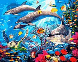 Картина малювання за номерами Mariposa Подводный мир MR-Q2146 40х50 см Животные суши, обитатели моря набор для росписи краски,