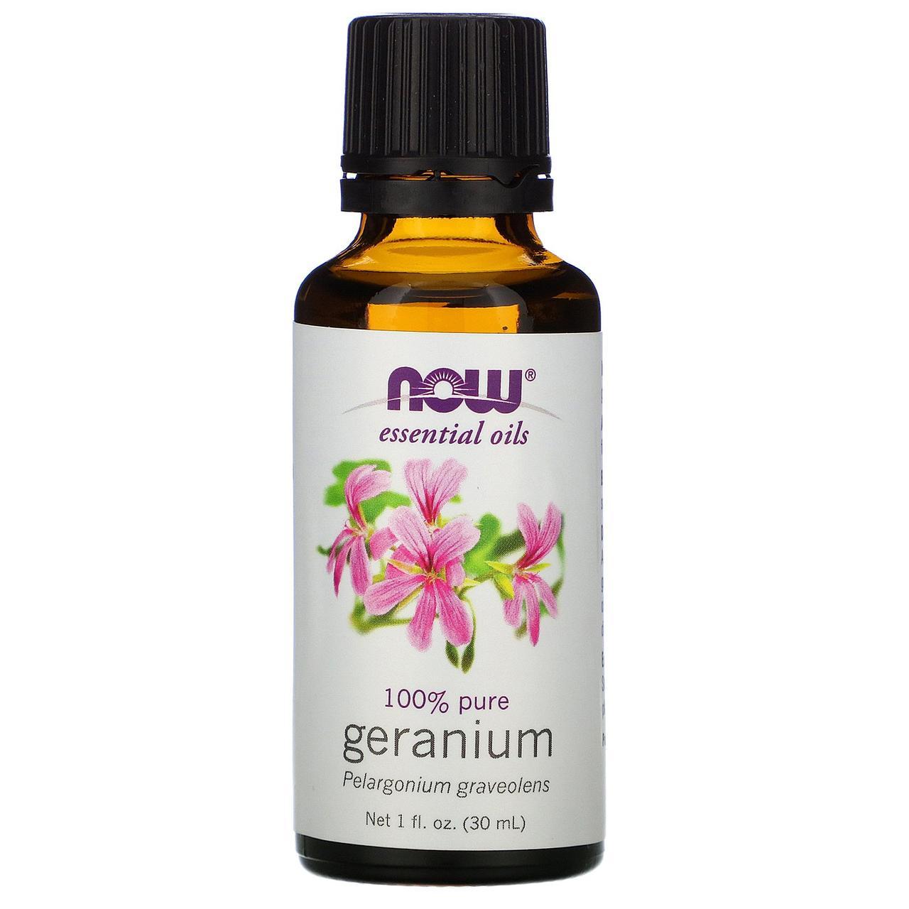 Ефірне масло герані (Geranium), Now Foods, 30 мл