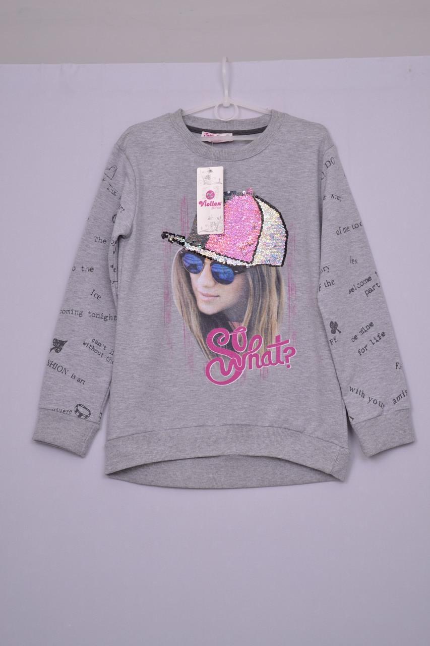 Л-137 Світшот, худі, светр для дівчинки розмір 134 152 сірий