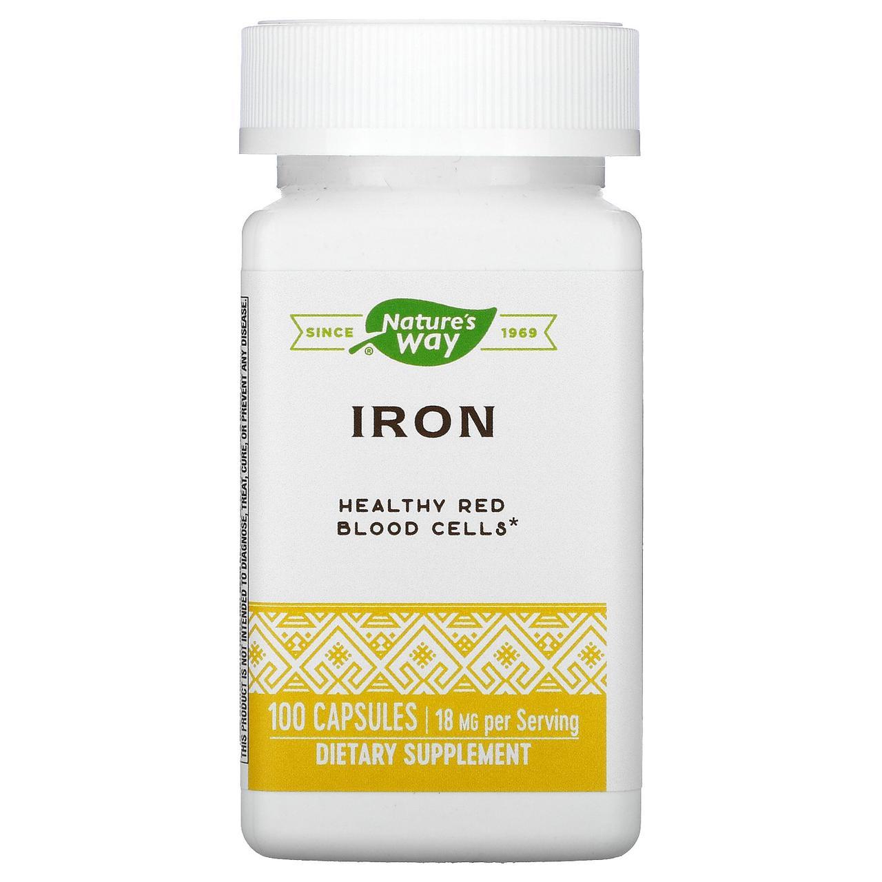 Железо, Nature's Way, 18 мг, 100 кап.