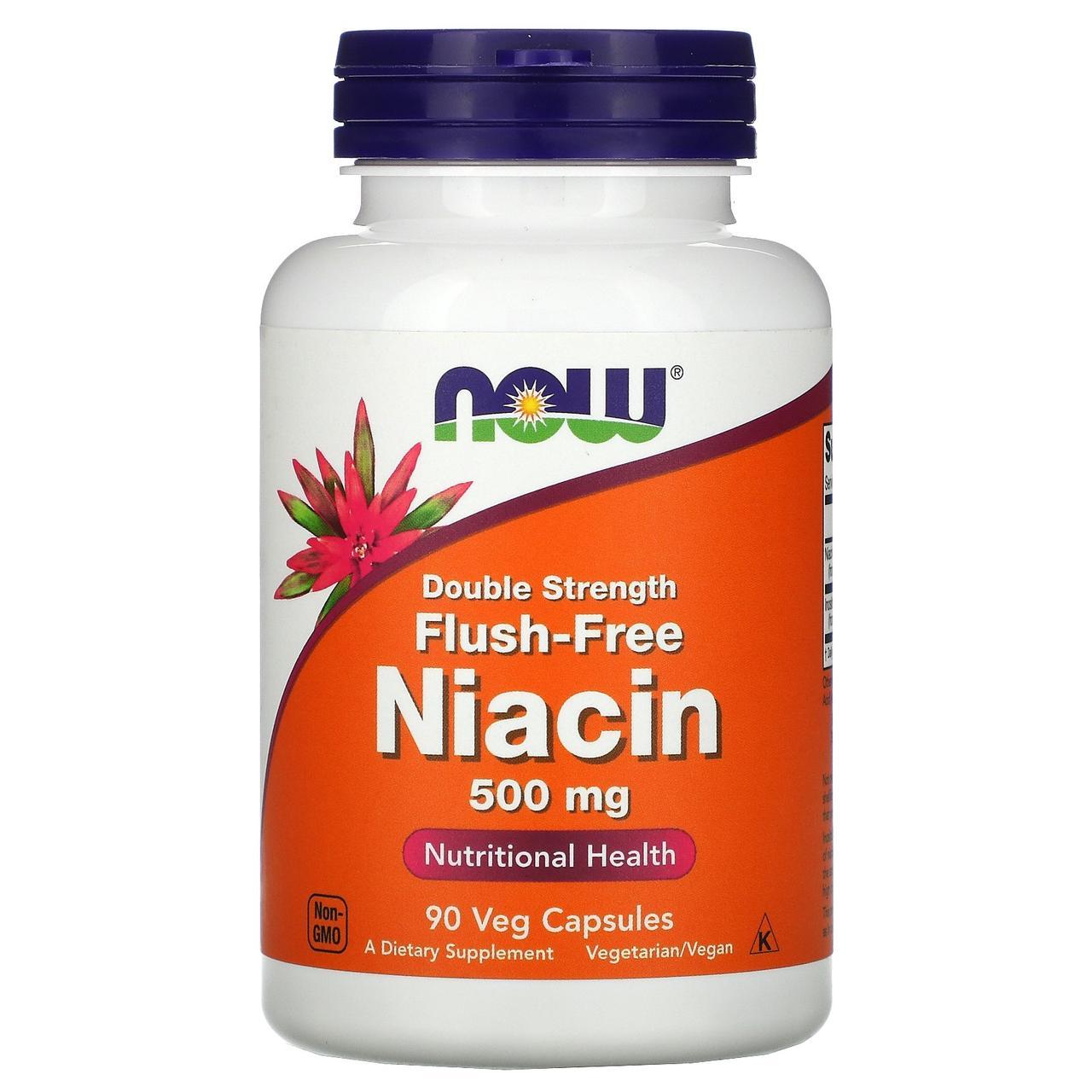 Витамин В3, Flush-Free Niacin, Now Foods, Ниацин, 500 мг, 90 кап.