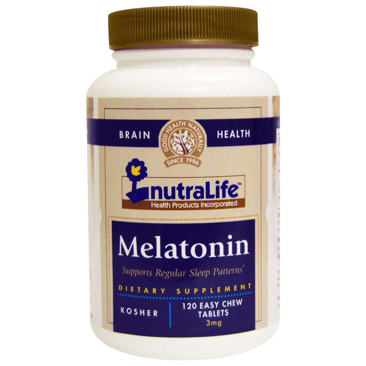 NutraLife, Мелатонін, 3 мг, 120 таблеток легкоразжевываемых