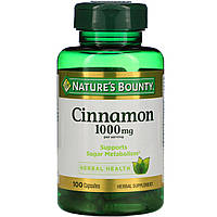 Корица, Cinnamon, Nature's Bounty, 1000 мг, 100 капсул