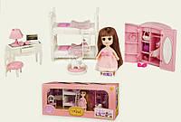 Игровой набор мебель спальня длямаленькая кукла типа ЛОЛ LOL, кровать, шкаф, стол, аксессуары.