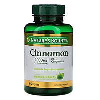 Корица плюс хром, Cinnamon Plus Chromium, Nature's Bounty, 60 капсул