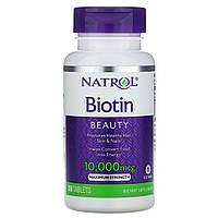 Биотин, Natrol, максимум, 10000 мкг, 100 таблеток