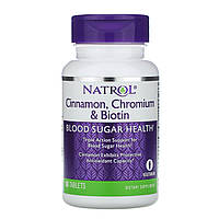 Уровень сахара, Cinnamon Biotin Chromium, Natrol, 60 таблеток
