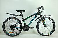"""Велосипед 24"""" GENERAL 4,0 STEEL (21 sp) зелено-черный"""