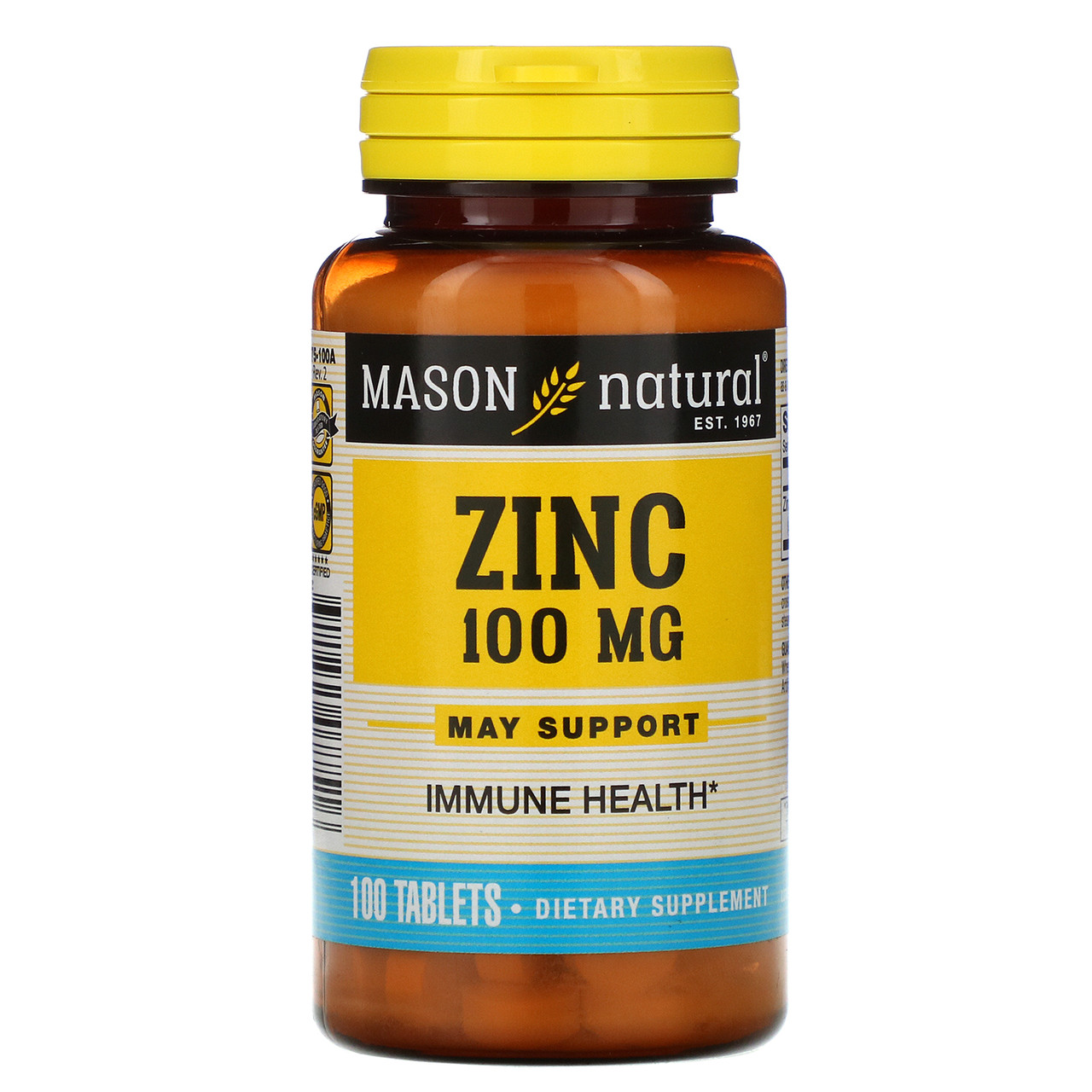 Цинк в капсулах, Mason Vitamins, 100 мг, 100 таб.