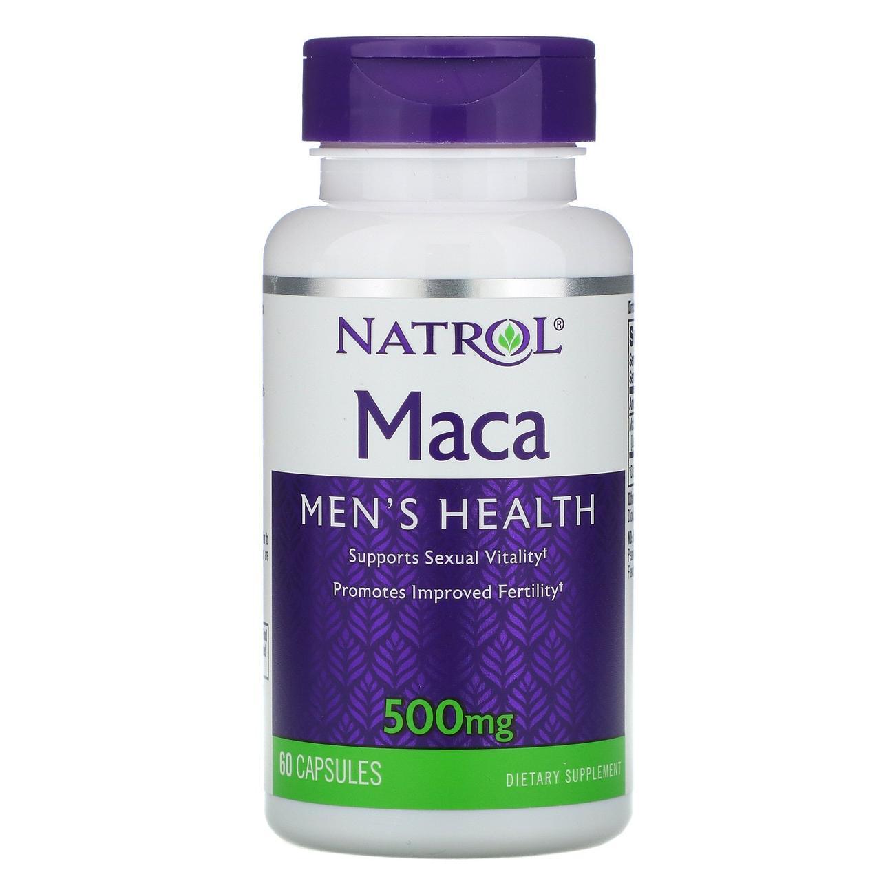 Мака (Maca), Natrol, 500 мг, 60 капсул