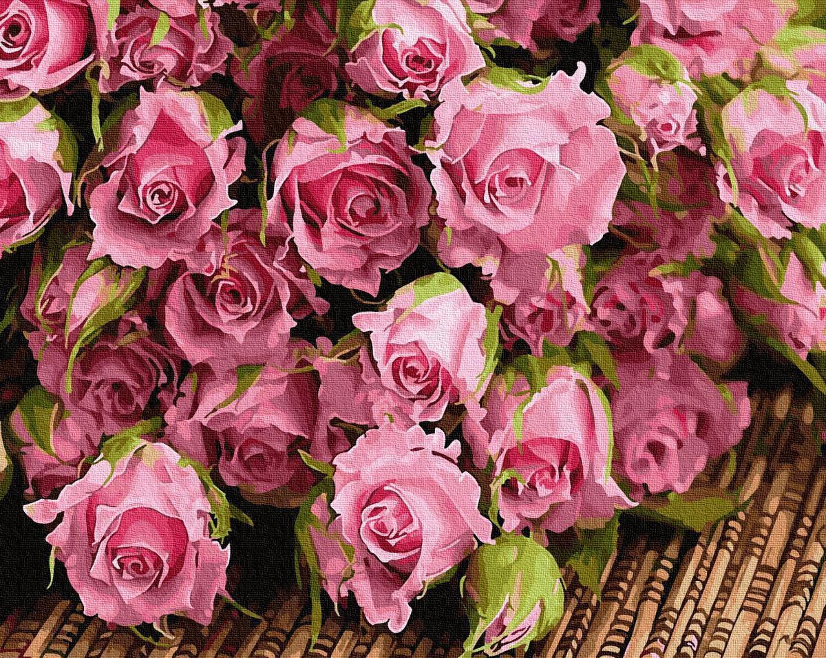 Картина рисование по номерам BrushMe Букет розовых роз BRM34269 40х50 см Цветы, букеты, натюрморты набор для