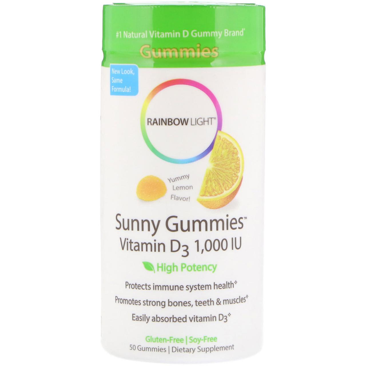 Вітамін D-3 для зміцнення кісток і м'язів, лимонні мармеладкі, Rainbow light, 50 таблеток