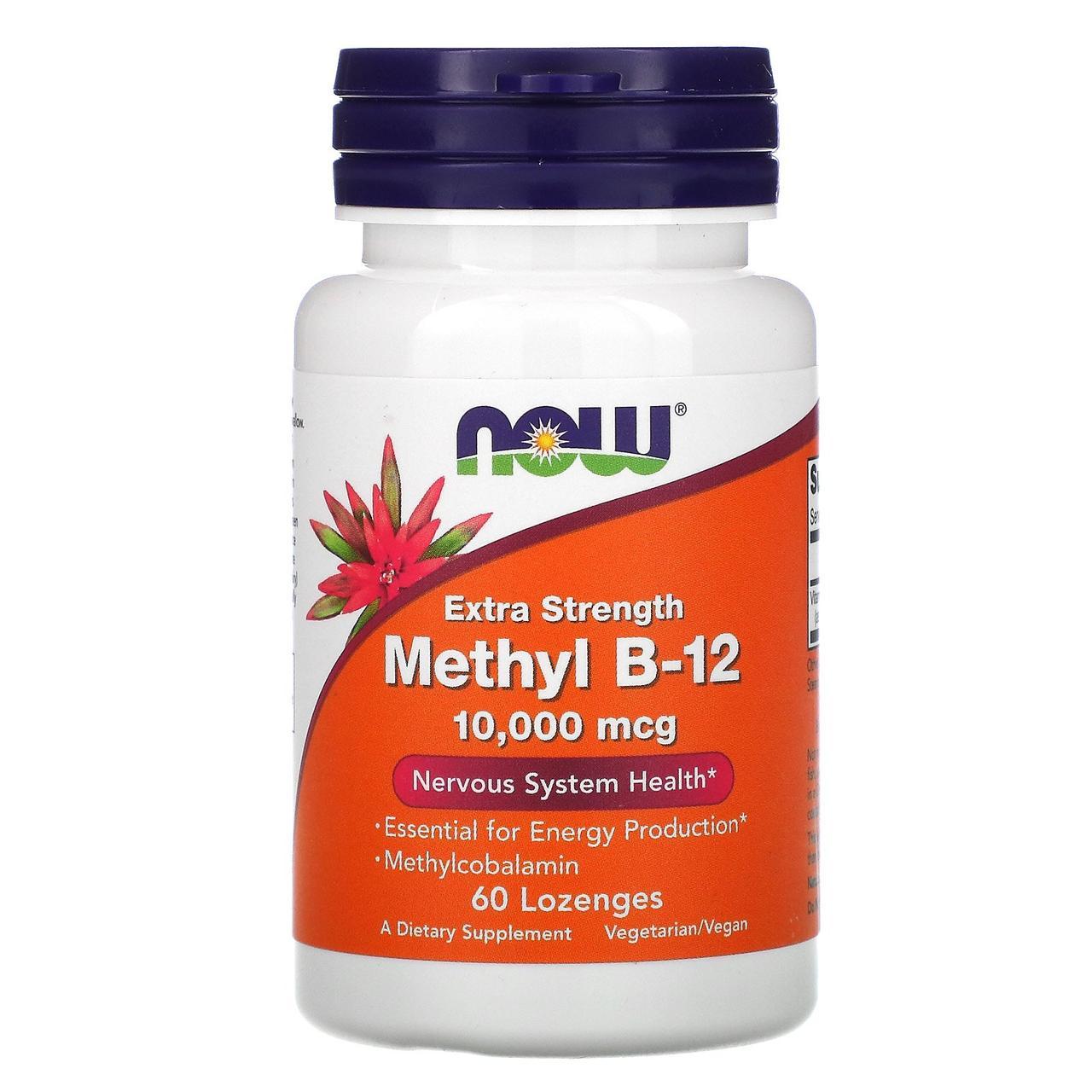 Витамин Метил В12, Methyl B-12, Now Foods, 10000 мкг, 60 леденцов