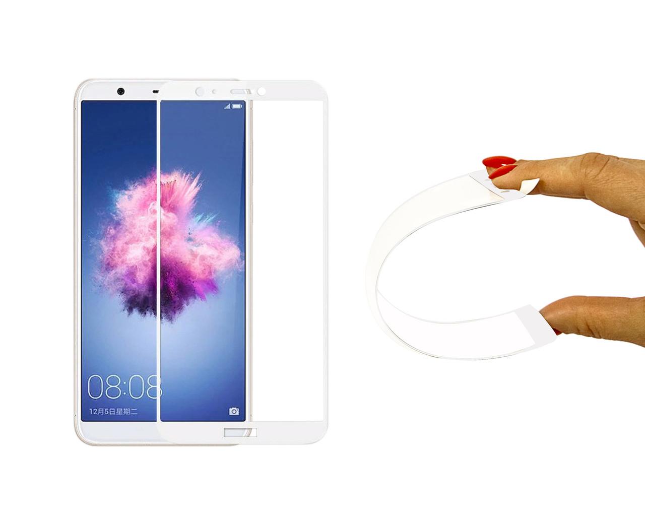 Защитное 5D cтекло Nano Flexible GLASS ITOP для Huawei P Smart 2018 Full Cover Белый