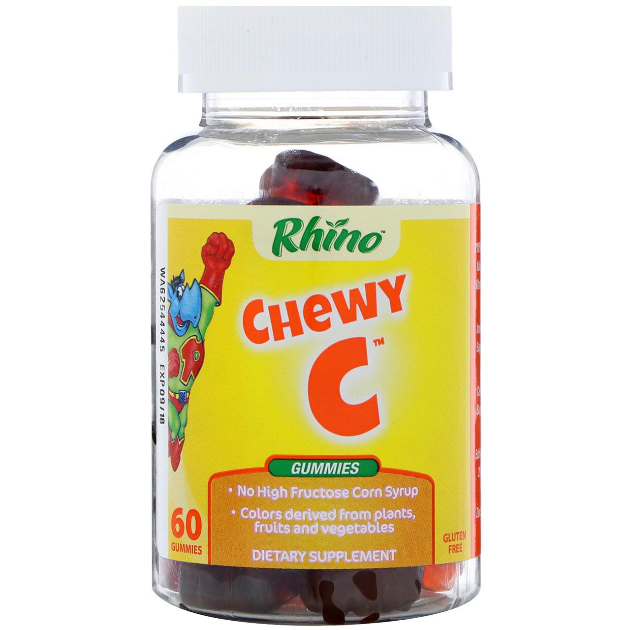 Nutrition Now, Rhino, Жевательные таблетки с витамином С, цинком и эхинацеей, 60 жевательных медведей