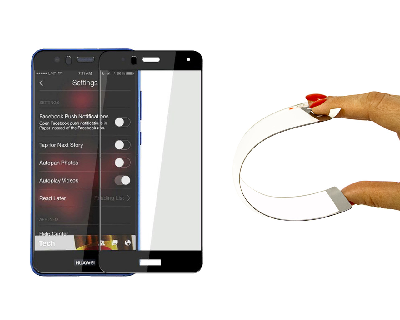 Захисне 5D скло Nano Flexible GLASS ITOP для Huawei P10 Lite Full Cover Чорний