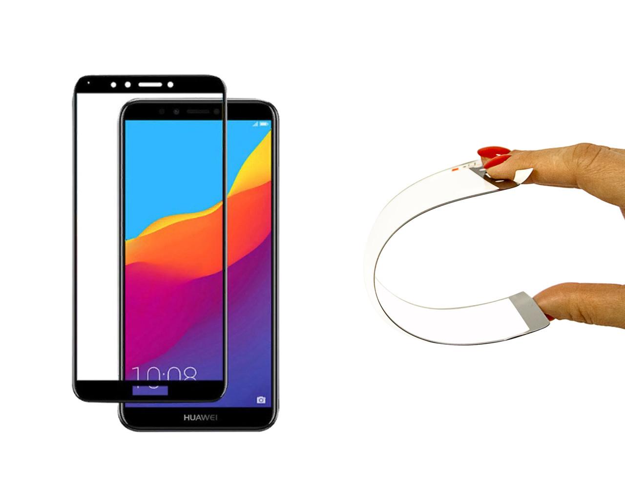 Защитное 5D cтекло Nano Flexible GLASS ITOP для Huawei Y7 2018 Full Cover Черный