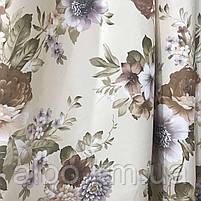 Щільна атласна шторна тканина з квітами, висота 2.8 м на метраж (630-1), фото 3