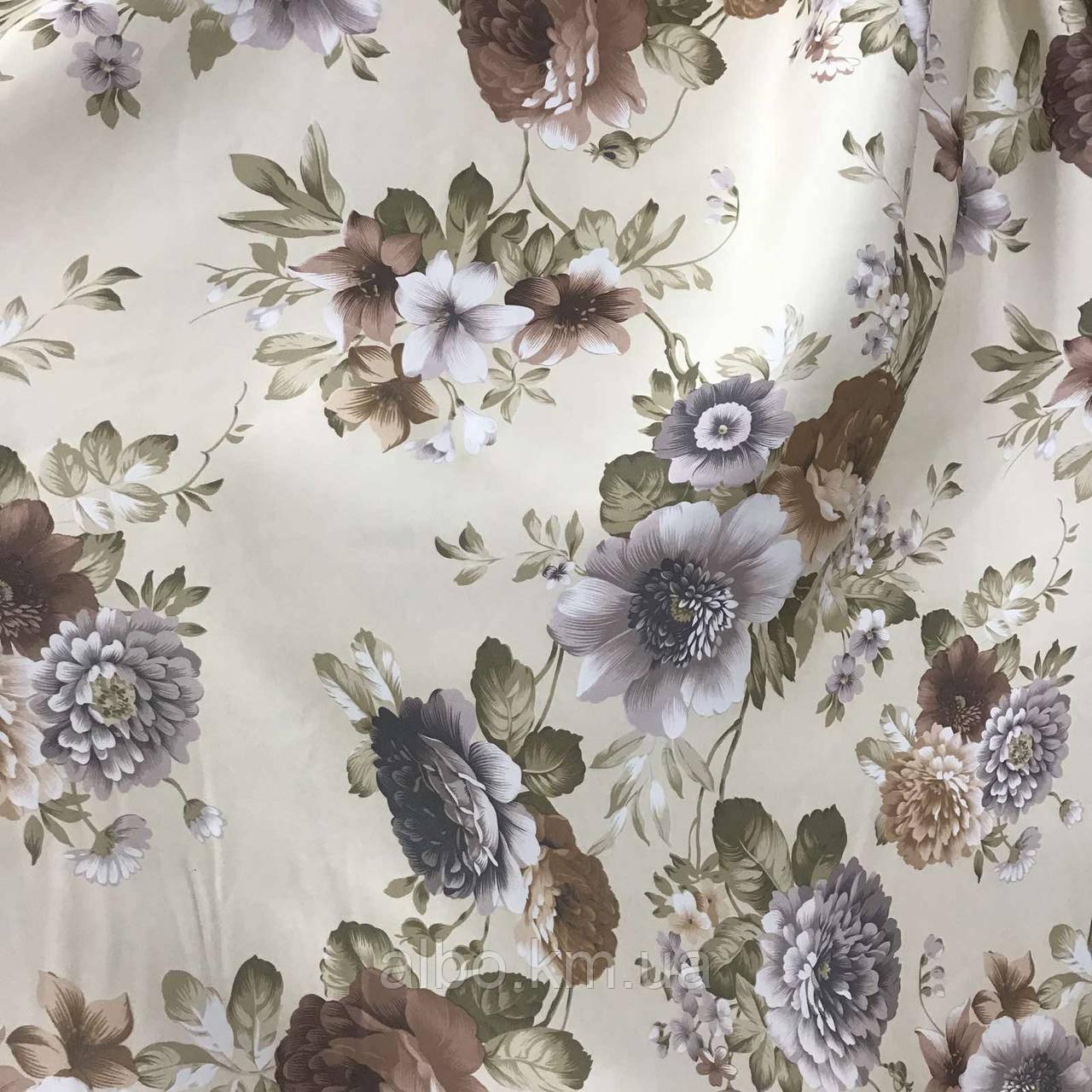 Щільна атласна шторна тканина з квітами, висота 2.8 м на метраж (630-1)