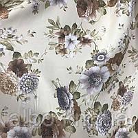 Щільна атласна шторна тканина з квітами, висота 2.8 м на метраж (630-1), фото 2