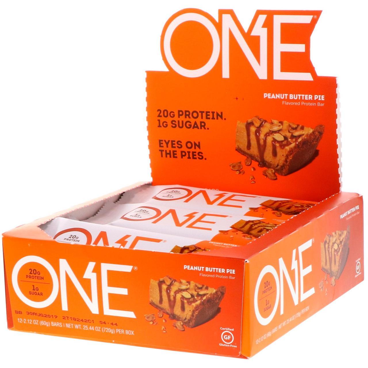 Oh Yeah!, Батончики One, зі смаком пирога з арахісовим маслом , 12 батончиків за 2.12 унції (60 г)