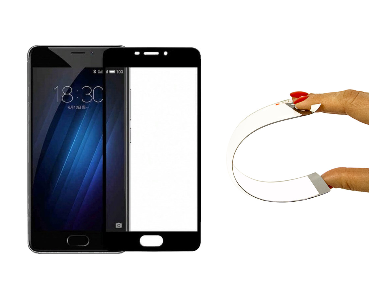 Захисне 5D скло Nano Flexible GLASS ITOP для Meizu M5 Note Full Cover Чорний