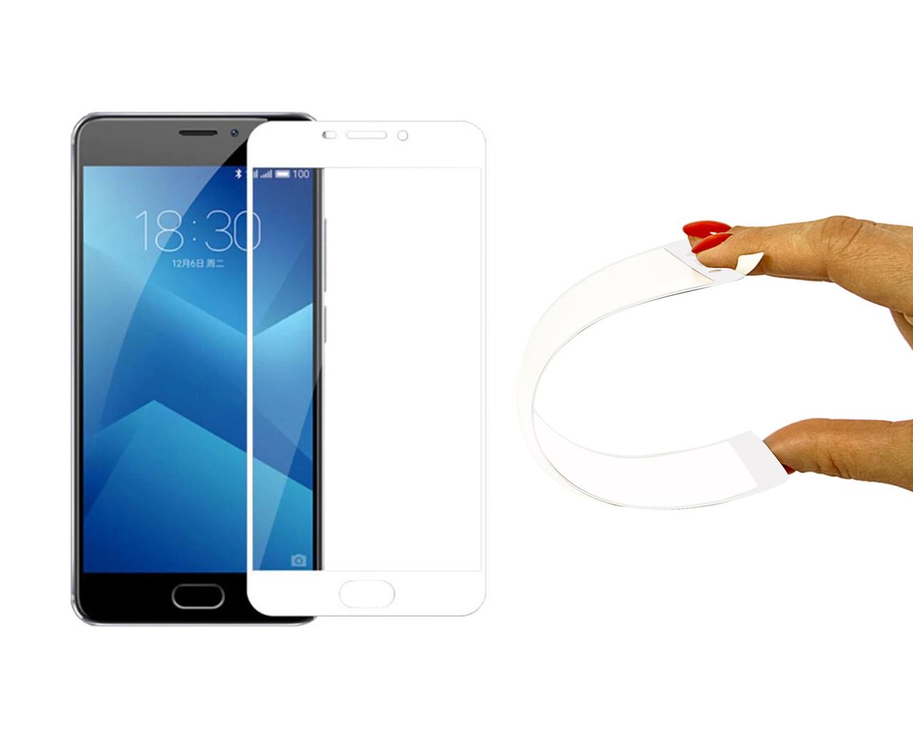 Защитное 5D cтекло Nano Flexible GLASS ITOP для Meizu M5 Note Full Cover Белый