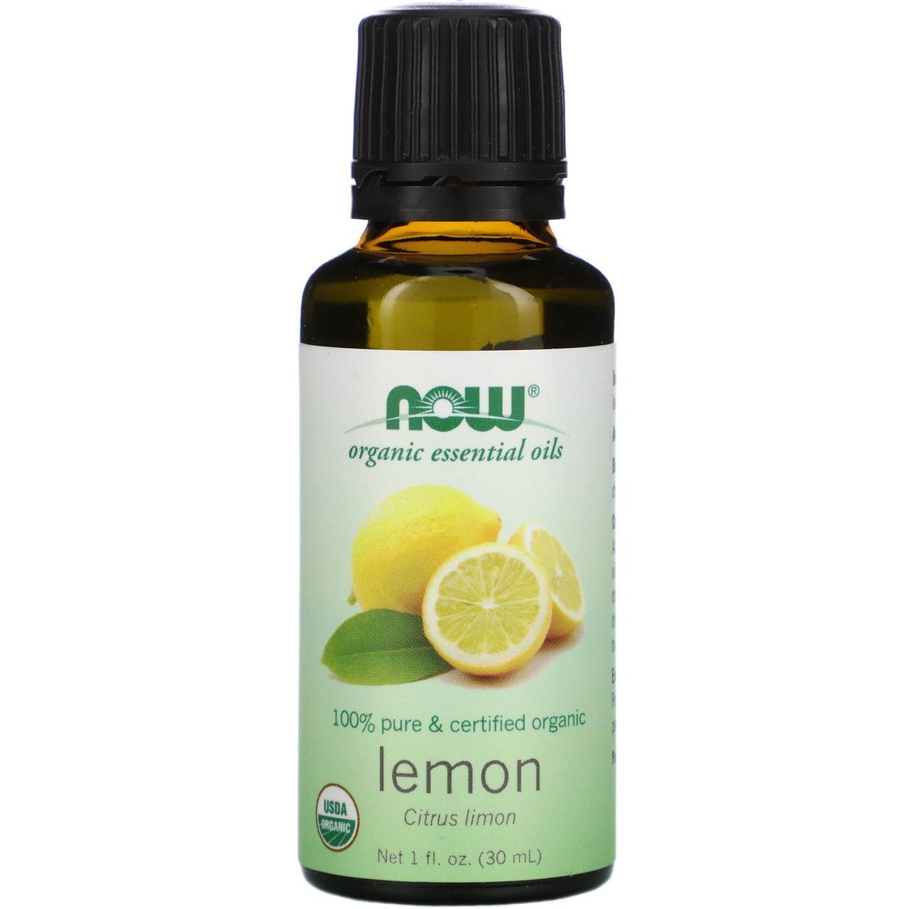 Лимонное масло органик (Lemon), Now Foods, 30 мл