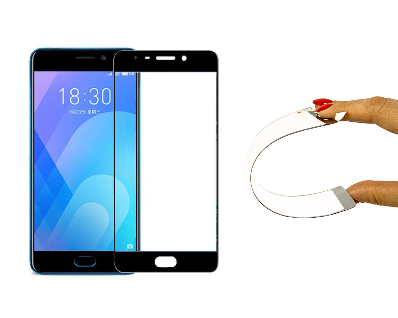 Защитное 5D cтекло Nano Flexible GLASS ITOP для Meizu M6 Full Cover Черный