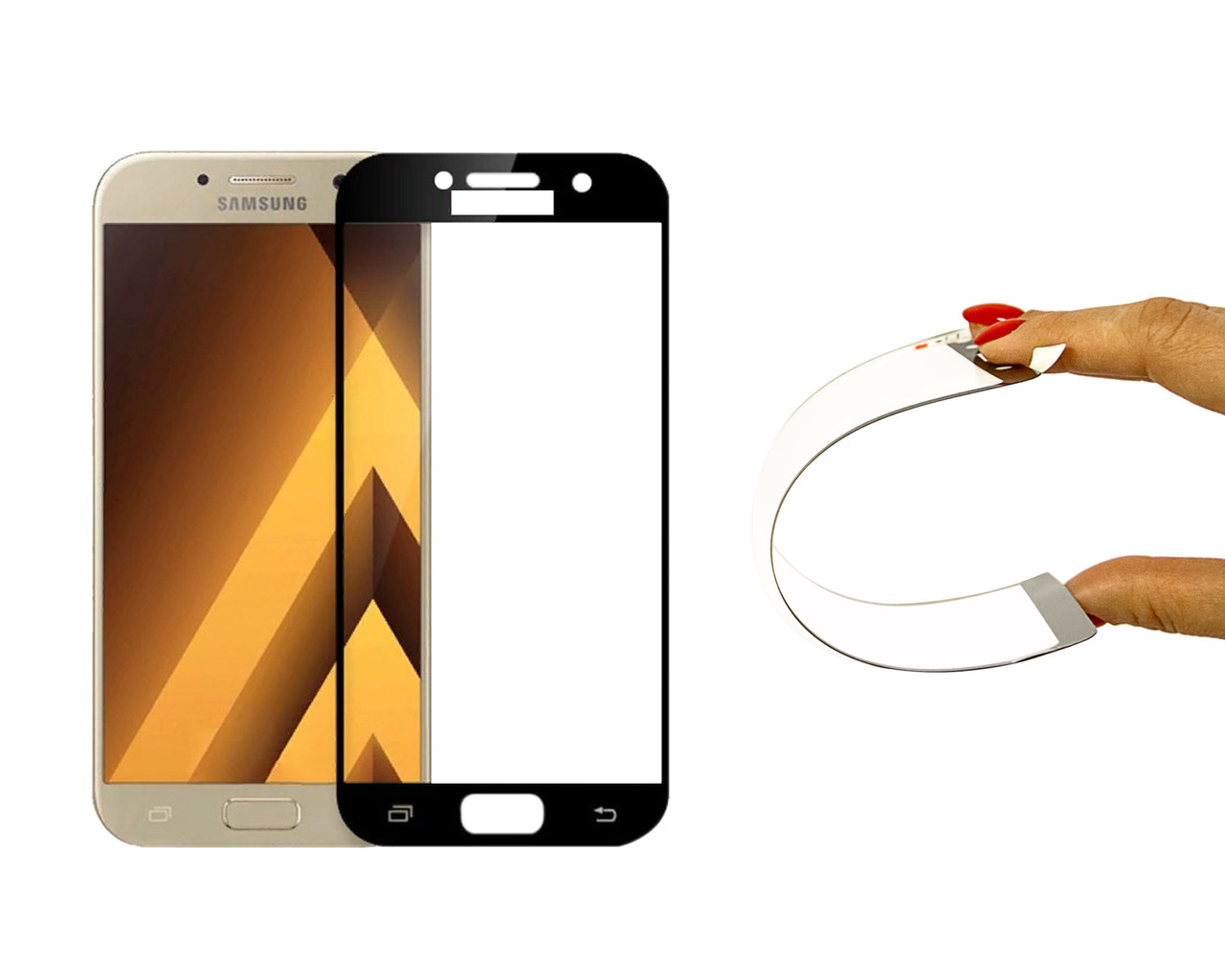 Защитное 5D cтекло Nano Flexible GLASS ITOP для Samsung Galaxy A5 2017 Full Cover Черный