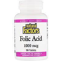 Фолиевая кислота, Natural Factors, 1000 мкг, 90 таблеток