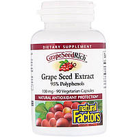 Екстракт виноградних кісточок (Grape Seed), Natural Factors, 90 кап.
