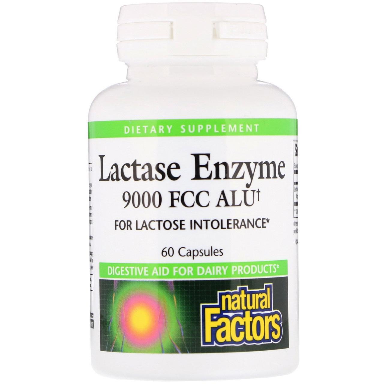 Лактаза (Lactase Enzyme), Natural Factors, 9000 од., 60 кап