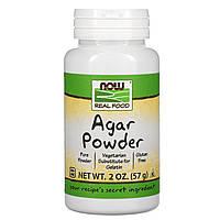 Агар, желатин, Agar Powder, Now Foods, 57 г