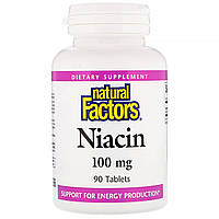 Витамин В3 (ниацин), Natural Factors, 100 мг, 90 таблеток