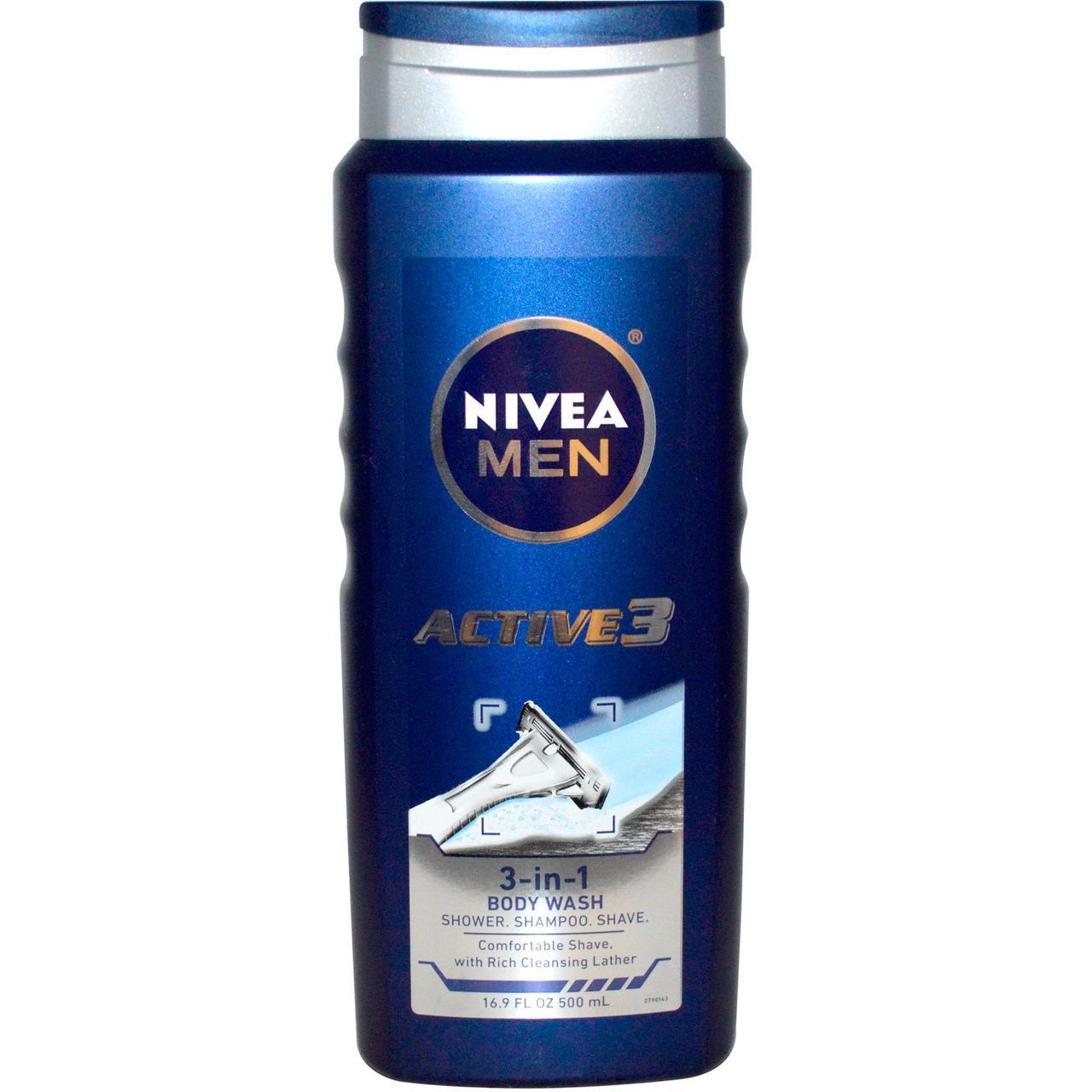 Nivea, Актив 3, Чоловічий гель для душу 3-в-1, 500 мл (16,9 рідких унцій)
