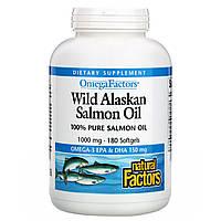 Жир лосося, Salmon Oil, Natural Factors, 1000 мг, 180 капсул