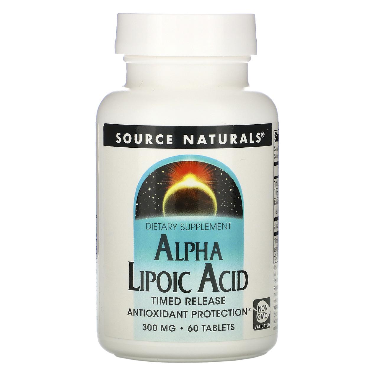 Альфа-липоевая кислота, Source Naturals, 300 мг, 60 таб.
