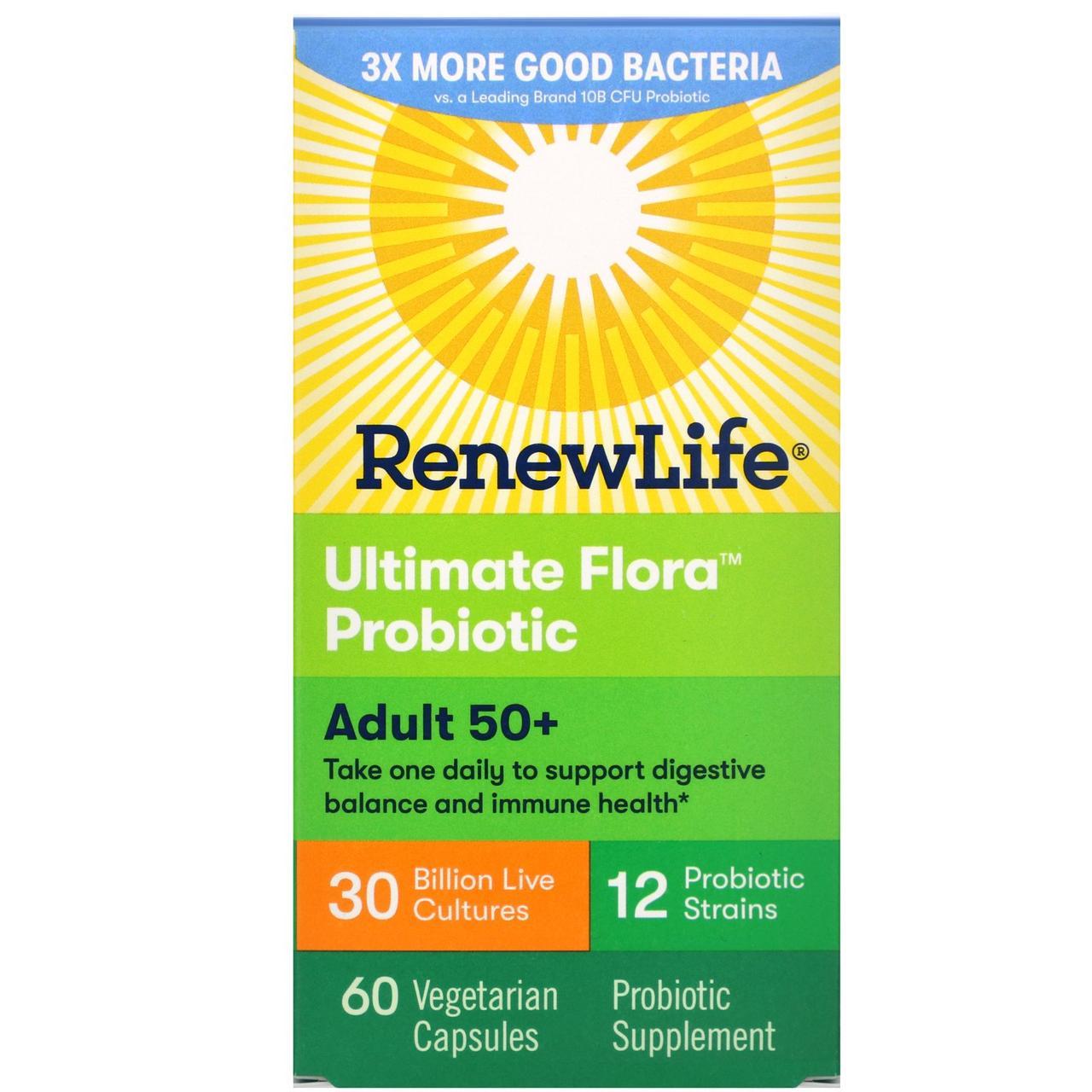 Пробіотики, Renew Life, 50+, 60 капсул