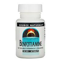 Бенфотиамин Витамин B1, Source Naturals, 150 мг 60 таблеток