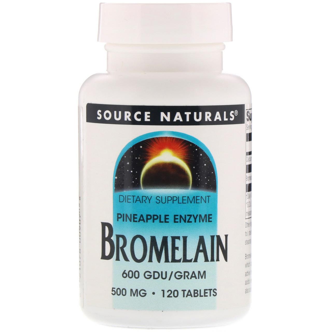 Source Naturals, Бромелаін, 600 ГДУ / г, 500 мг, 120 таблеток
