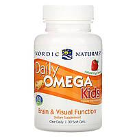 Рыбий жир для детей (клубника), Daily Omega Kids, Nordic Naturals, 500 мг, 30 желе