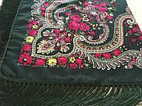 Хустина* в етнічному стилі з квітами та українським орнаментом колір зелений розмір 110*110