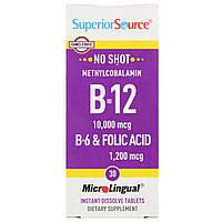 Superior Source, B-12 10000 мкг / B-6 и фолиевая кислота 1200 мкг, 30 микролингвальных быстрорастворимых табле
