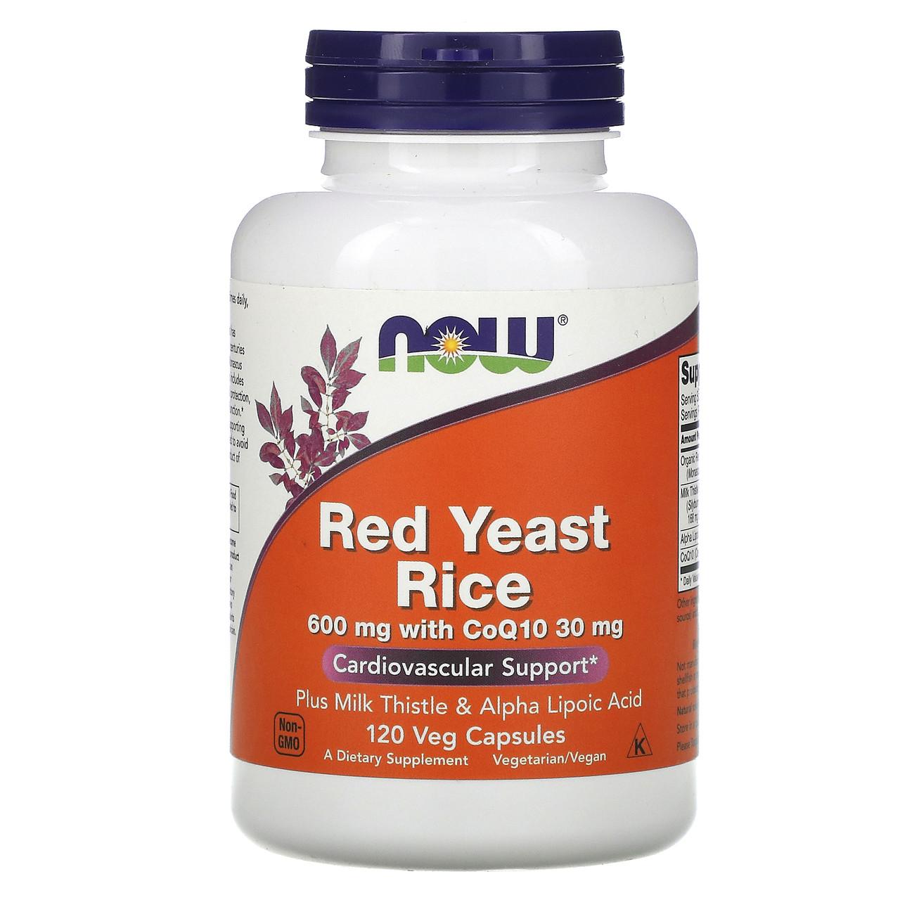 Коензим Q10 (Red Yeast Rice, with CoQ10), Now Foods, Червоний рис, 600 мг, 120 капсул