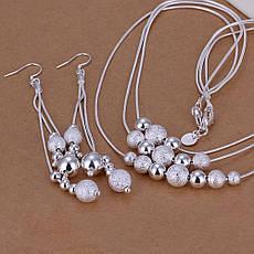 Жіночий комплект біжутерії (кольє, сережки) Срібні кулі покриття срібло 925, фото 3