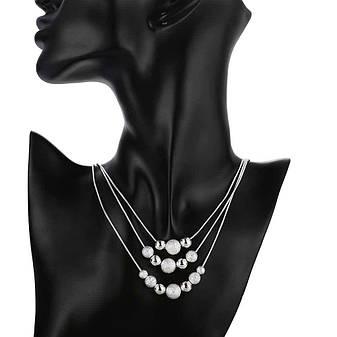 Жіночий комплект біжутерії (кольє, сережки) Срібні кулі покриття срібло 925, фото 2