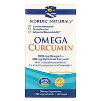 Nordic Naturals, Омега и Куркумин, 60 мягких желатиновых капсул