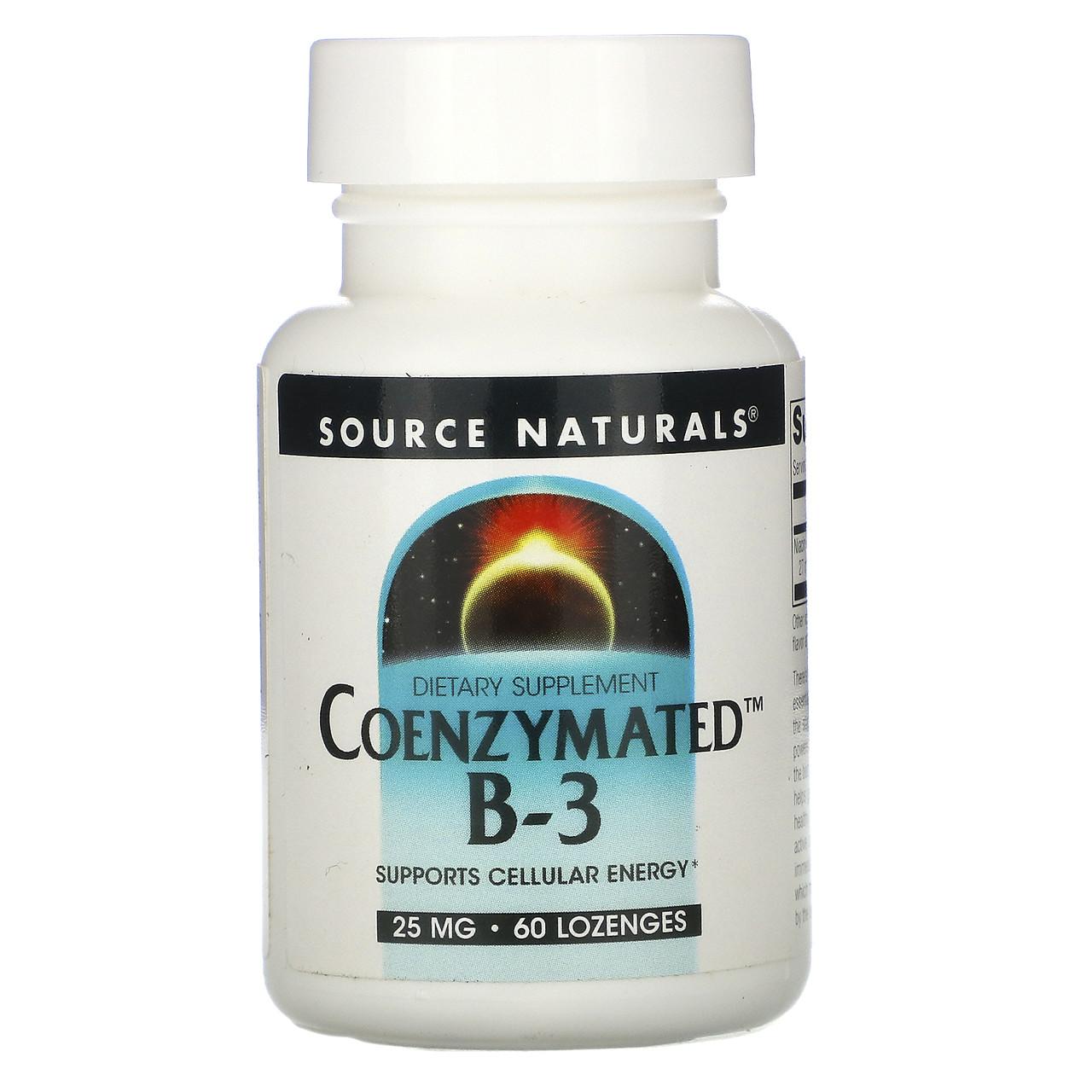 Кофермент витамина в3 подъязычный, Source Naturals, Coenzymated B-3,  25 мг, 60 таблеток