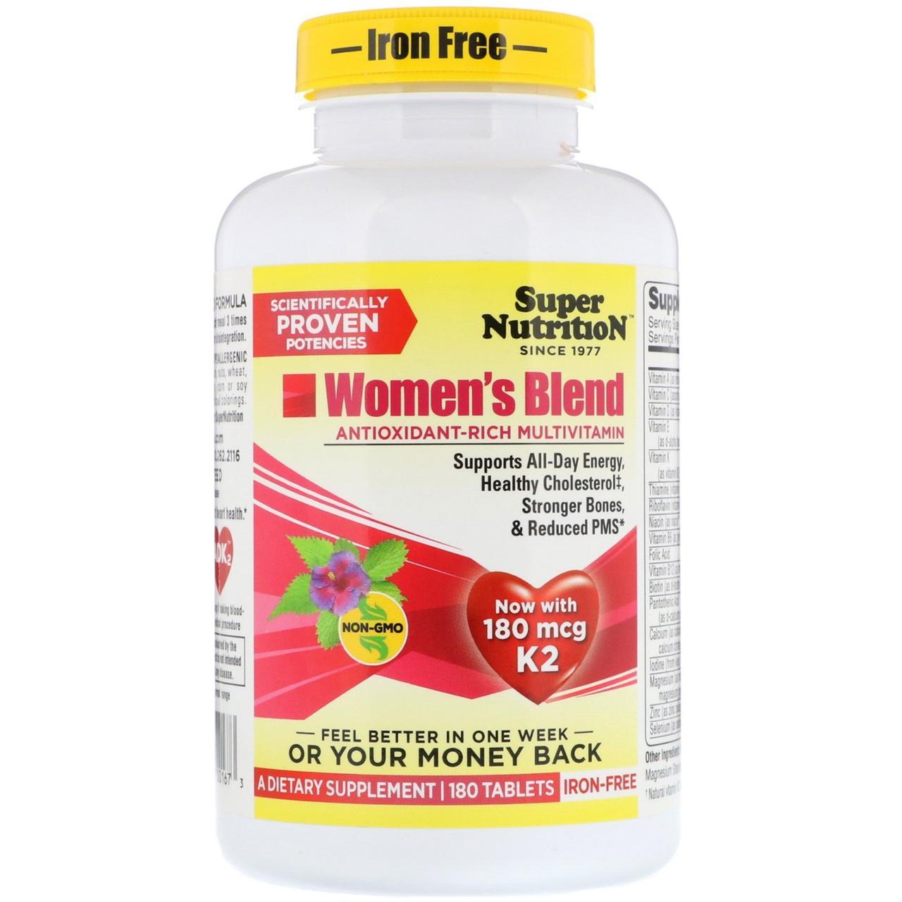 Super Nutrition, Мультивитаминный комплекс для женщин, без железа, 180 таблеток